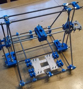 DIY 3D printer X-axis installed with Z-axis on the frame