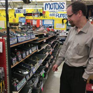 Looking at motors at American Science and Surplus